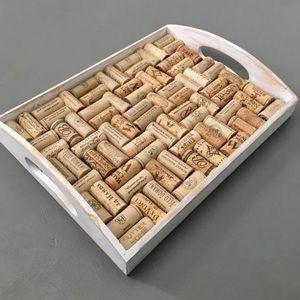Handmade Distressed White Wine Cork Tray